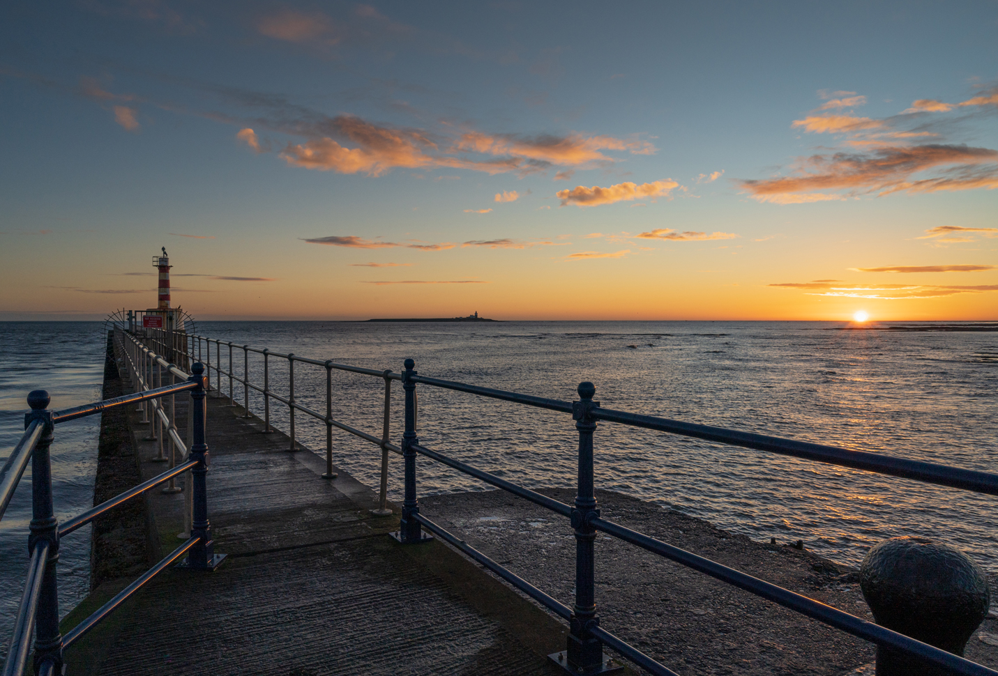 Sunrise from Amble Pier in Northumberland.
