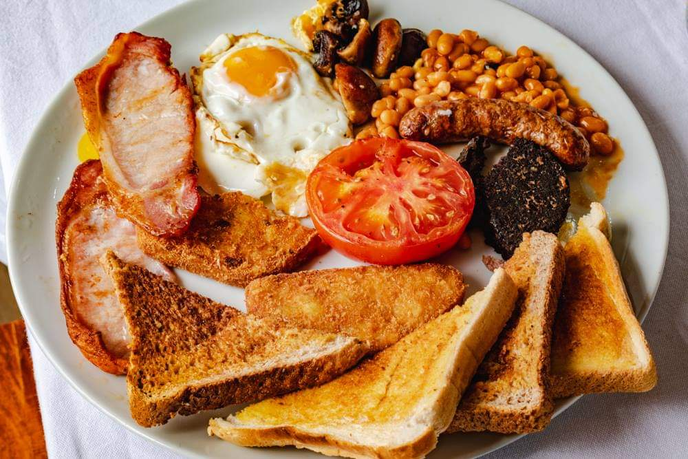 Full English Breakfast at The Masons Arms in Amble.
